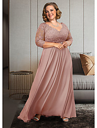 cheap -A-Line Mother of the Bride Dress Plus Size Elegant V Neck Ankle Length Chiffon Lace 3/4 Length Sleeve with Pleats Appliques Crystal Brooch 2021