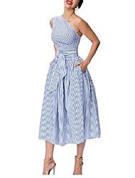 cheap -Womens One Shoulder Dress Formal Evening A Line Midi Dress with Pockets 1 XXS
