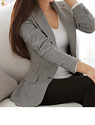 cheap -Women's Single Breasted Notch lapel collar Blazer Houndstooth Business Gray S / M / L