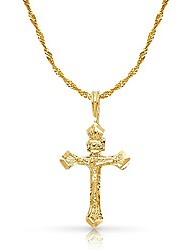 cheap -14k yellow gold crucifix charm pendant with 1.2mm singapore chain necklace - 18""