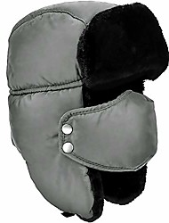 cheap -Unisex Winter Ear Flap, Trooper, Trapper, Bomber Hat, Keeping Warm While Skating, Skiing Other Outdoor Activities Grey, Black Fur