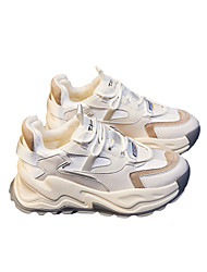 cheap -Women's Trainers Athletic Shoes Flat Heel Round Toe Sporty Dad Shoes Outdoor Running Shoes Walking Shoes Microfiber Lace-up Color Block Beige Gray