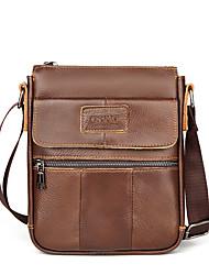 cheap -Men's Bags Wood Cowhide Crossbody Bag Zipper Daily Outdoor 2021 MessengerBag Dark Brown Black