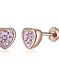 cheap -Silver Stud Earring for Women, Small Heart-Shaped Stud Earring, 5mm Love Heart Stud Earrings, Hypoallergenic Rose Gold Sleeper Stud Earring, with Pink Zirconia Stud Earring
