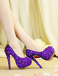 cheap -Women's Wedding Shoes Platform Round Toe Wedding Pumps Vintage Sexy Roman Shoes Wedding Party & Evening PU Rhinestone Crystal Sparkling Glitter Solid Colored Color Block Purple