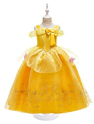 cheap -Belle Cosplay Costume Flower Girl Dress Girls' Movie Cosplay A-Line Slip Dresses Vacation Dress Yellow Yellow (With Accessories) Dress Christmas Halloween Carnival Tulle Cotton Polyster