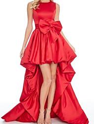 cheap -A-Line Minimalist Vintage Engagement Formal Evening Dress Jewel Neck Sleeveless Asymmetrical Taffeta with Bow(s) 2021