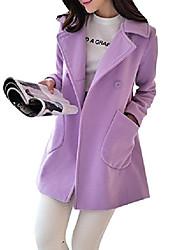 cheap -warm solid fare swing wool trench pea coat jacket overcoat outwear purple 2xl