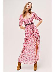 cheap -Sheath / Column Bohemian Floral Holiday Prom Dress Scoop Neck Half Sleeve Ankle Length Chiffon with Split Pattern / Print 2021