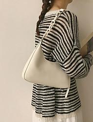 cheap -Women's Bags PU Leather Top Handle Bag Zipper Chain Plain 2021 Date White Black Khaki Brown