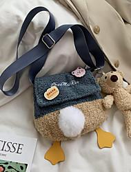 cheap -women lamb wool cute soft cartoon duck shape all-match small shoulder bag crossbody bag