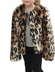 cheap -Girls Coat 3-8 Years Old,Toddler Girls Kids Autumn Winter Warm Clothes Faux Fur Leopard Thick Jacket Outwear (5-6 Years Old, Brown)
