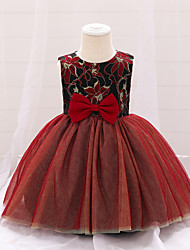 cheap -Kids Little Girls' Dress Jacquard Bow Red Knee-length Sleeveless Vintage Sweet Dresses Children's Day Slim