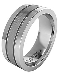 cheap -super heavy tungsten carbide 8mm wedding band for men flat court shape brushed center polished sides two grooves (s)
