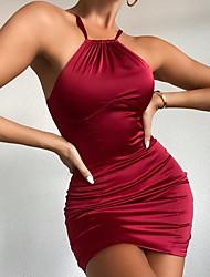 cheap -Women's Sheath Dress Short Mini Dress - Sleeveless Solid Color Backless Zipper Patchwork Spring Summer Hot Sexy 2021 Blue Wine XS S M L