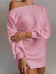 cheap -Women's Sweater Jumper Dress Short Mini Dress - Long Sleeve Backless Spring Fall Hot Casual Cotton 2021 White Black Blushing Pink Wine Khaki S M L XL
