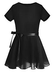 cheap -Girls Kids Basic Team Short Sleeved Wrap-Around Skirt Leotard Dance Ballet Tutu Dress Black 7-8