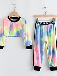 cheap -Kids Girls' Clothing Set 2 Piece Long Sleeve Rainbow Print Print Daily Wear Active Short