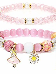 cheap -natural stone bracelets 2 pieces glass pink opal adjustable multi-element beads gifts for women pink