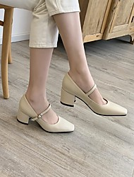 cheap -Women's Wedding Shoes Chunky Heel Square Toe Wedding Daily Cowhide White Burgundy