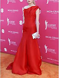 cheap -Sheath / Column Celebrity Style Elegant Prom Formal Evening Dress One Shoulder Sleeveless Floor Length Satin with Sleek 2021
