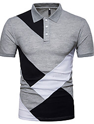 cheap -Polo Man! Casual Slim Top Blouse Patchwork Short Sleeve T Shirt