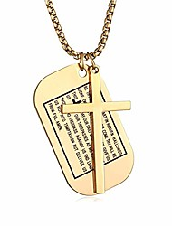 cheap -Gold Cross Necklace for Men Dog Tags Military Stainless Steel Jesus Cross Gift
