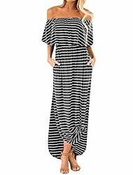 cheap -womens off shoulder striped ruffle party long dresses casual side split beach maxi dress with pockets sexy strapless maxi dress split stripe solid pockets kaftan dress