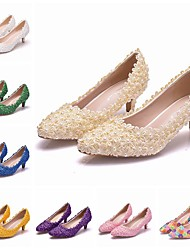 cheap -Women's Wedding Shoes Pumps Pointed Toe Wedding Pumps Business Sexy Minimalism Party & Evening Office & Career PU Pearl Satin Flower Lace Solid Colored Color Block White Purple Yellow