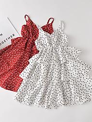 cheap -Kids Little Girls' Dress Polka Dot Ruffle White Red Knee-length Sleeveless Dresses Regular Fit