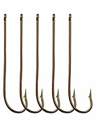 cheap -100pcs Long Shank Fishing Hooks High Carbon Steel Fly Tying Jig Hooks Super Sharp Barbed Hook Tips Tan Color 13 Sizes for Choice