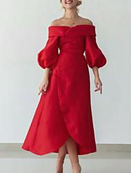 cheap -A-Line Vintage Sexy Wedding Guest Formal Evening Dress Off Shoulder Half Sleeve Tea Length Taffeta with Sleek 2021