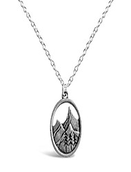 cheap -3d mountain range necklace, mountains nature necklace, ideal outdoorsy gifts for women, forest tree gifts for nature lovers (silver tone)