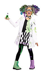 cheap -Scientist Outfits Girls' Movie Cosplay White Coat Dress Glasses Halloween Children's Day New Year Polyester / Cotton / Tie