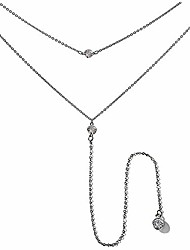 cheap -vintage double layer alloy crystal choker necklace with long chain pendant silver