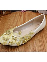 cheap -Women's Wedding Shoes Flat Heel Round Toe Wedding Flats Sweet Wedding Walking Shoes PU Rhinestone Floral Gold