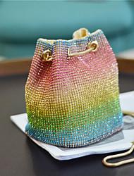 cheap -women rhinestone rainbow contrast color personality unique chain bucket bag shoulder bag cross body bag