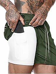 cheap -men's 2-in-1 workout running shorts lightweight gym training bodybuilding athletic short pants with inside pockets green