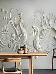 cheap -Mural Wallpaper Wall Sticker Covering Print Print Peel and Stick Removable 3D Relief Effect Peacock Canvas Home Décor