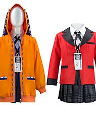preiswerte -Inspiriert von Kakegurui / Zwangsspieler Cosplay Kaede Akamatsu Anime Cosplay Kostüme Japanisch Cosplay-Anzüge Schuluniformen Mantel Bluse oben Für Mädchen / Rock / Socken / Fliege