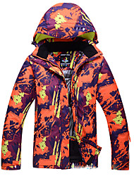 cheap -men's skiing jacket waterproof windproof breathable snow coat orange l