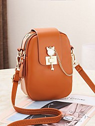 cheap -Women's Bags PU Leather Mobile Phone Bag Zipper Chain Solid Color 2021 Daily Holiday Black Red Blushing Pink Brown