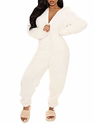cheap -Women One Piece Fleece Pajamas Jumpsuit Cartoon Bear Hooded Fuzzy Warm Sherpa Romper Sleepwear Homewear (Z White, S)