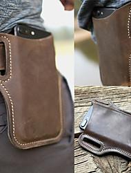 cheap -ekphero men vintage casual genuine leather 6.3/7.2 inch phone bag waist bag pouch leather belt bag purse