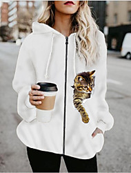cheap -Women's Print Patchwork Active Spring &  Fall Hoodied Jacket Regular Sports Long Sleeve Cotton Blend Coat Tops White