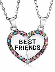 cheap -ElOI Best Friend Necklaces Multicolor Heart Gifts for Teen Girls 18 Inch Necklace
