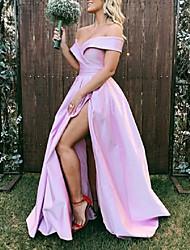 cheap -A-Line Minimalist Sexy Engagement Formal Evening Dress Off Shoulder Short Sleeve Floor Length Taffeta with Sleek Split 2021