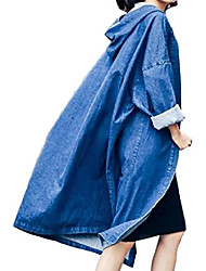 cheap -Women's Hooded Fashion Long Sleeve Long Denim Jacket Coat Blue OS