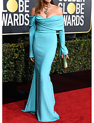 cheap -Mermaid / Trumpet Celebrity Style Elegant Prom Formal Evening Dress Off Shoulder Long Sleeve Sweep / Brush Train Spandex with Ruched 2021