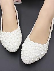 cheap -Women's Wedding Shoes Flat Heel Round Toe Wedding Flats Wedding Walking Shoes PU Pearl Floral 3 cm heel [standard size] 5 cm heel [standard size] 8 cm heel [standard size]